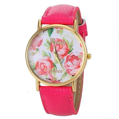 Women's Vogue Rose Pattern PU Leather Band Quartz Wrist Watch (Assorted Colors) Cool Watches Unique Fashion