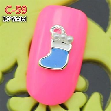 10st c 59 nieuwe ontwerp zilverachtige blauwe kleur met parel 3d kerstsok stijl legering nail - Kleursalon ontwerp ...