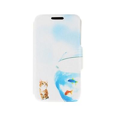 Kinston Katze und Fisch-Muster PU-Leder Ganzkörper-Abdeckung mit Standplatz für Nokia Lumia 520