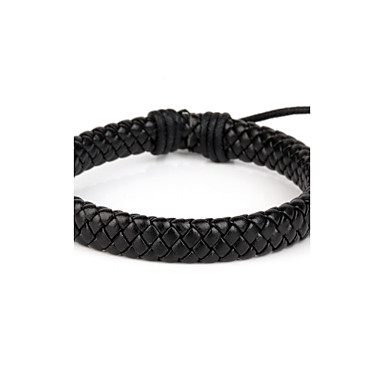 Comfortable Adjustable Men's Leather Cool Hard Bracelet All Black Braided Leather(1 Piece) Jewelry Christmas Gifts