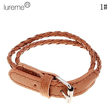 Lureme®Leather Belt Pattern Bracelet(Assorted Colors)