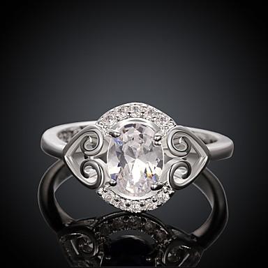 Klassische Big Diamante Frauen Weiß und Silber Zirkon Erklärung Ringe (Weiß und Silber) (1pcs)
