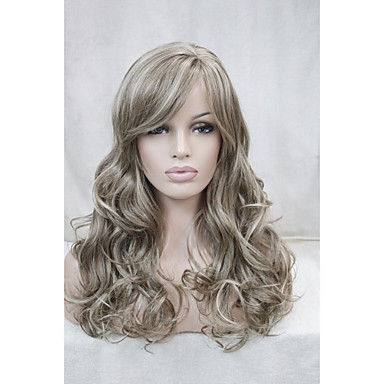 Light Brown Mix Blonde Curly 22 inch Long Side Skin Part Top Women's Synthetic Wig