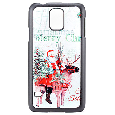 White Christmas Santa Claus and Deer Pattern PC Hard Back Cover Case for Samsung Galaxy S5