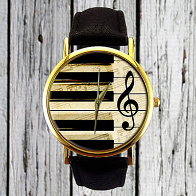 Piano Keys G Clef Watch Leather Women's Men's Gift Idea Custom Musician Cool Watches Unique