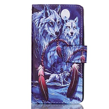 Wolf Pattern Magnetic Flip Wallet PU Leather Phone Case Huawei P9