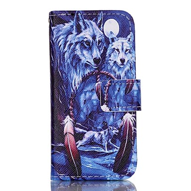 Wolf Painted PU Phone Case iphone5SE