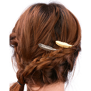 Women Simple Alloy Feather Hairpin Hair Accessories 1pc ...