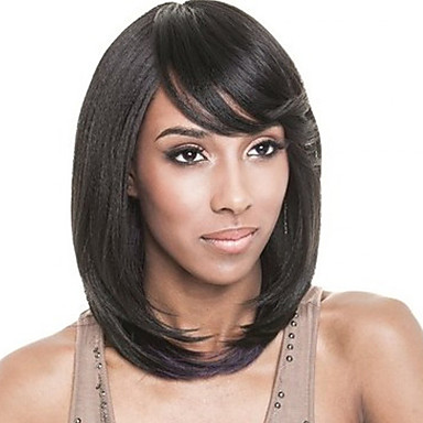 Short Straight Style Black Color Synthetic Wigs Women