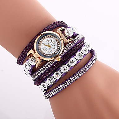 Women's Fashion Watch Wrist watch Bracelet Quartz Colorful Imitation Diamond PU Band Vintage Bohemian Charm Bangle Cool CasualBlack