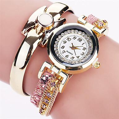 Women's Fashion Watch Bracelet Casual Quartz / PU Band Cool Black White Blue Red Pink Brand