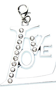 Cat / Dog Tag Love / Rhinestone Silver Metal