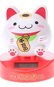 Solar Powered Cute Lucky Cat Hoved ryster Desktop Toy