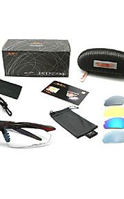 TopeakスポーツTR90フレーム(黒と赤枠、5つのレンズ)TS001HRと飛散防止サイクリングメガネ