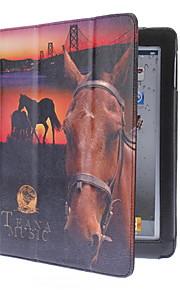 Wzór PU Leather Case koni ze stojakiem do iPada 2/3/4