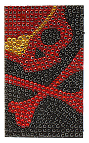 Scary Red Skull with Yellow Heart Shape Eyepatch Jewelry Protective Body Sticker for Cellphone