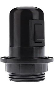 e27 svart farge basen pære socket lampe med bryter (4a, 250v)
