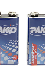 Pakko 250mAh 9V 6F22 Batterij - Blauw + Wit + Rood (2 stuks)