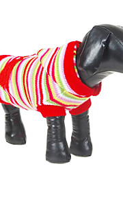 Dog Sweater / Hoodie Red Dog Clothes Winter Stripe