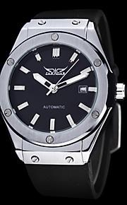 auto-mecânico preto silicone mostrador do relógio pulseira dos homens