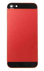 Red Liga de Metal Voltar Bateria Caixa com vidro preto para iPhone 5