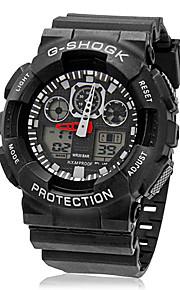 Masculino Relógio de Pulso Quartz LCD / Calendário / Cronógrafo / Dois Fusos Horários / alarme Borracha BandaPreta / Branco / Vermelho /