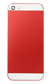 Red Liga de Metal Voltar Bateria Caixa com vidro branco para iPhone 5