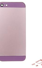 Rosa Liga de Metal Voltar Bateria Caixa com Button e vidro roxo para iPhone 5