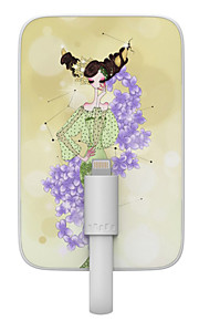 OUNUO 3200mAh Exquisite Craft Taurus Beauty Pattern 7mm Thickness External Battery with Built-in 8-Pin Cable