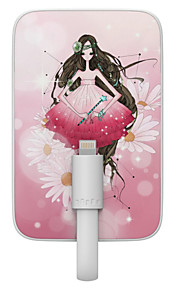OUNUO 3200mAh Exquisite Craft Virgo Beauty Pattern 7mm Thickness External Battery with Built-in 8-Pin Cable
