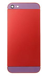 Red Liga de Metal Voltar Bateria Caixa com vidro roxo para iPhone 5
