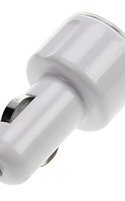 Portable Car Charger for Cellphone -Dual USB Port (White/Black)