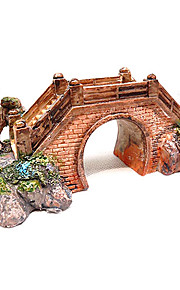 Gardening Style Bridge Design Resin Decoration Ornament for Aquarium