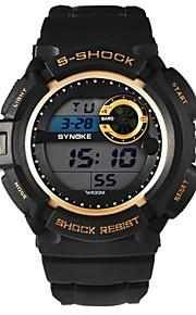 homens rodada Dial banda pu levou digitais desportivo multifunções relógio de pulso à prova d'água 50m (cores sortidas)