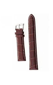 20 milímetros relógio de couro marrom liga durável pu cinta banda fivela costura branca