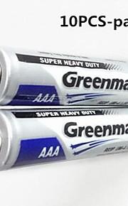 10st GREENMAX 1.5V AAA zink - mangaan koolstof batterijen
