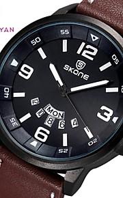 Skone ® Round Dial relógio de pulso de couro pu japão movimento de quartzo dos homens (cores sortidas)