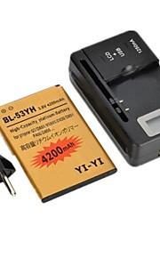 yi-yi ™ decodificado batería 4200mAh reemplazo con base de carga y enchufe de la UE para lg g3 / bl-53yh / d855 / vs985 / d830