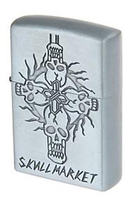 שמן 6136-2 כיס נייד סגסוגת אבץ עיצוב שוק הגולגולת (אפור כסוף) מצית