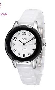 gedi® mulheres de luxo da marca, relógios branco strass banda Real Cerâmica quartzo mostrador redondo relógios das mulheres