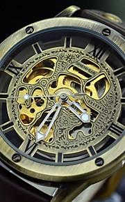 Masculino Assista Automático - da corda automáticamente Relógio Esqueleto Gravação Oca Couro Banda Relógio de Pulso