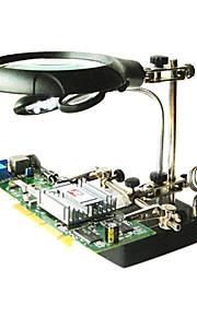 LED lys lup hjælpende hånd ekstra klemme krokodillenæb stå pcb reparation værktøjer