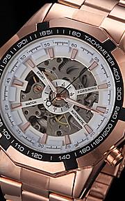 forsining® automático de discagem oco mecânica dos homens levantou-relógio pulseira de aço ouro (cores sortidas)