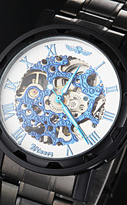 manual do relógio esqueleto face azul pulseira de aço oca preta mecânico dos homens (cores sortidas)