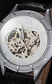 FORSINING Masculino Relógio Esqueleto relógio mecânico Automático - da corda automáticamente Gravação Oca Couro Banda PretaBranco Preto