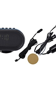 Black Multi-fonction Car Digital Clock with Thermometer and Automotive Voltmeter/Calendar/Alarms Clock(12-24V)
