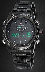 Masculino Assista Quartzo Japonês Relógio Esportivo LED / Calendário / Cronógrafo / Impermeável / Dois Fusos Horários / alarmeAço