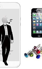 Iphone 5/iPhone 5S - Back Cover - Cartoon/Speciaal Design/Transparant/Nieuwigheid/Anime/Ultra Slim/Cool Word / Phrase/Holding / Eating Apple-logo (