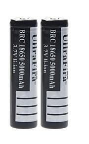 ullra fira 3.7V 5000mAh 18650 oplaadbare lithium-ion batterij (2 stuks)