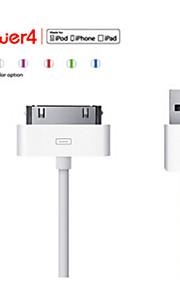 아이폰 4 / 4S를 동기화 데이터 평면 흰색 케이블을 USB 충전 케이블 MFI 인증 30 핀 (100cm)